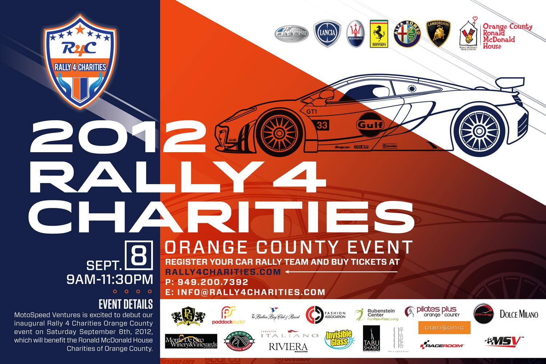 rally 4 charities charity car rally orange county sept 8th 2012