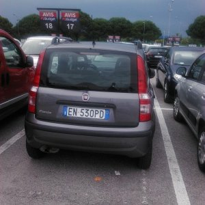 The first picture we took, mainly so we'd have a record of the plate in case there were 10 grey Pandas in a parking lot.